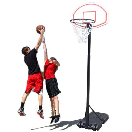 Zimtown 5.4ft - 6.7ft Height Adjustable Kids Junior Basketball Goal, Portable Basketball Hoop Stand Net Backboard System, with Wheels for Indoor / Outdoor Court Backyard Exercise Workout ()