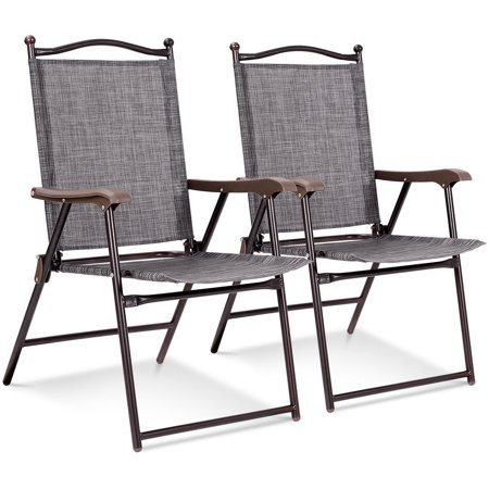 Costway Set of 2 Patio Folding Sling Back Chairs Camping Deck Garden Beach Gray ()