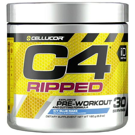 Cellucor C4 Ripped Pre Workout Powder, Thermogenic Fat Burner & Metabolism Booster for Men & Women, Icy Blue Razz, 30
