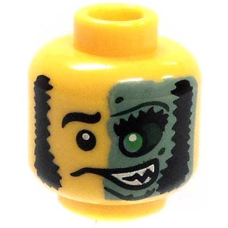 LEGO Minifigure Parts Mutton Chops & Half Green Face Loose Head [Yellow Loose]](Mutton Chop Mustache)
