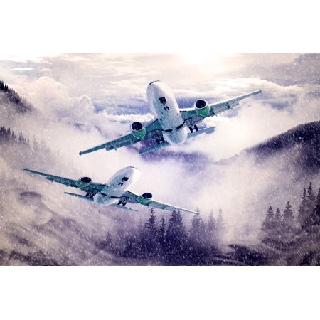 Canvas Print Flyer Sky Clouds Forest Aircraft Fog Mountains Stretched Canvas 10 x 14