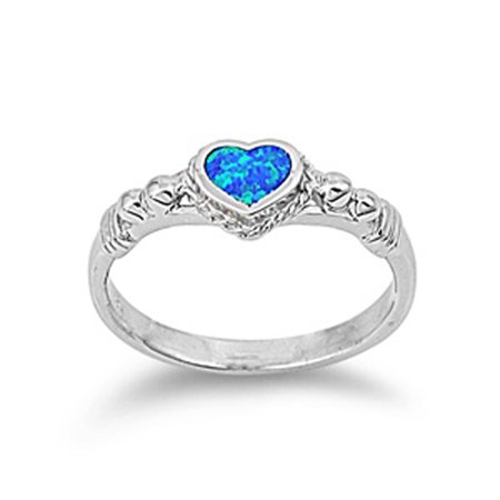 Sterling Silver Women 39 S Blue Heart Promise Ring Sizes 5 6 7 8 9 Wholesale 925 Band Rings By