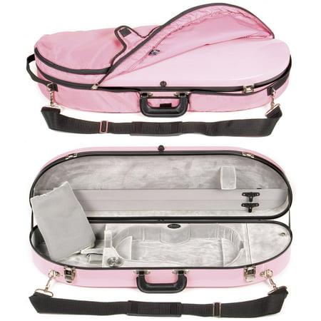 Bobelock 1047FV Pink Fiberglass 4/4 Violin Case with Silver Velvet Interior and Protective Bag (Bobelock Fiberglass Violin Case)