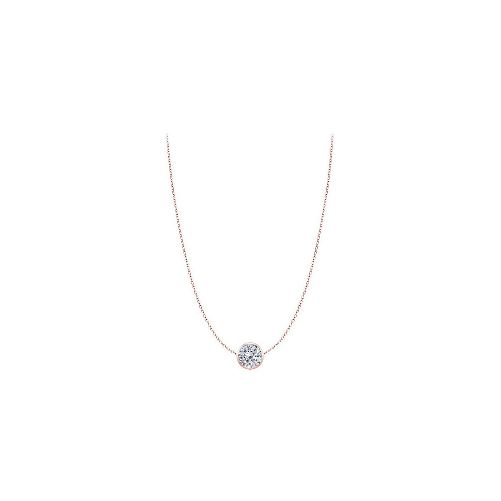 Cubic Zirconia Necklace in 14K Rose Gold Two carat TGW Double Up Chain - image 2 de 2