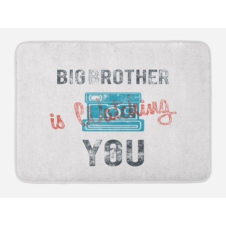 Icon Analogue Watch - Vintage Bath Mat, Half Toned Big Brother Quote with Old-Fashion Analogue Camera Icon Book Web Print, Non-Slip Plush Mat Bathroom Kitchen Laundry Room Decor, 29.5 X 17.5 Inches, Blue Grey, Ambesonne