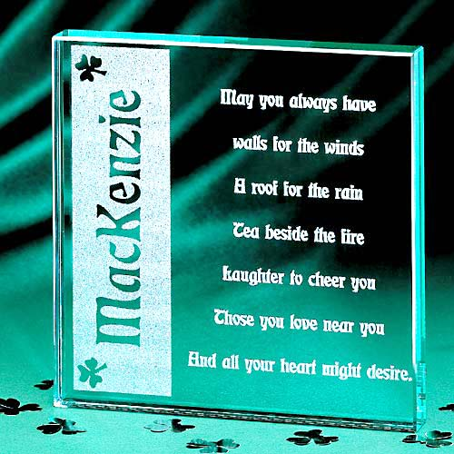 Personalized Irish Blessing Glass Block
