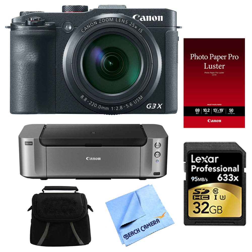 Canon Powershot G3 X Digital Compact Camera and Printer Bundle