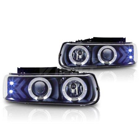 Winjet 1999-2002 Chevrolet Silverado Black Clear Halo Projector Head Light WJ10-0214-04