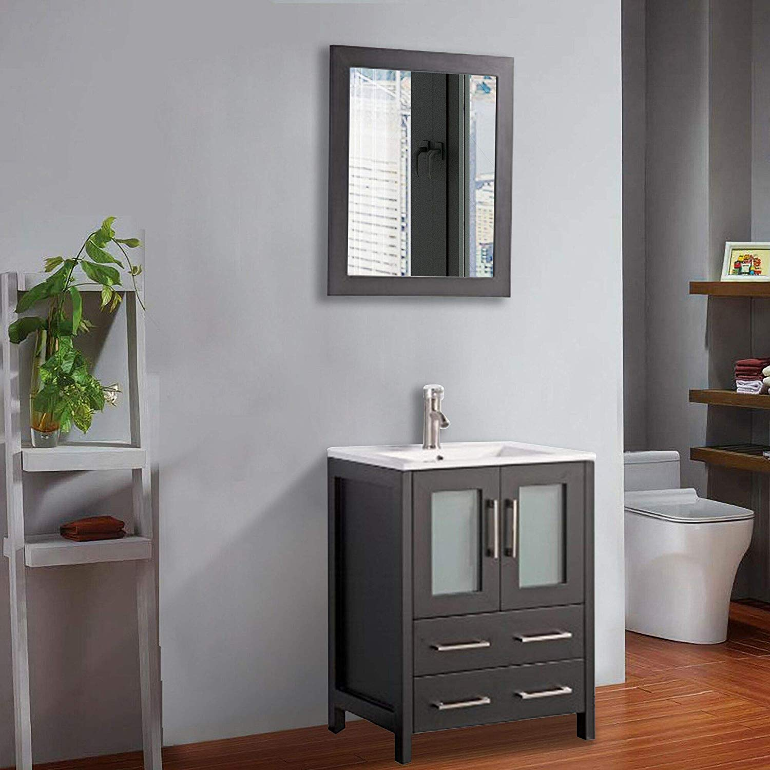 Vanity Art 24 Inch Single Sink Bathroom Vanity Set Modern Small Bathroom Storage Cabinet Solid