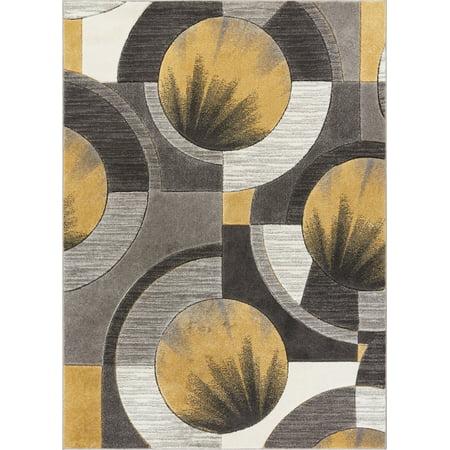Well Woven Sunburst Gold, Light Grey, Charcoal Modern 6x9 7x9 (6'7