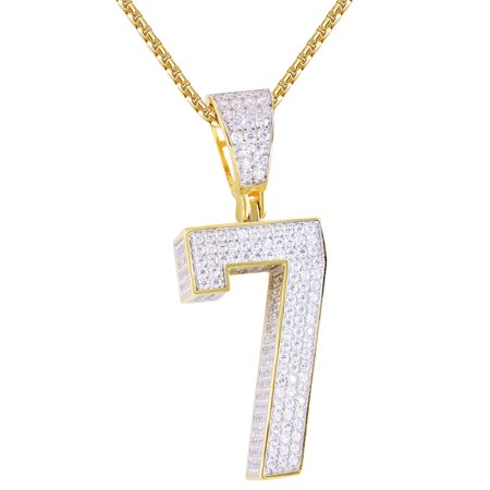 Sports Number Necklace (Men's Silver Block Letter Number 7 Sports Iced Out 3D Lucky Number Pendant)