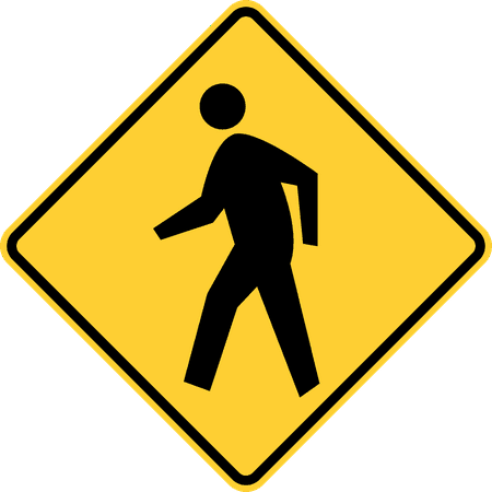 Traffic Signs - Pedestrian crossing (a fluorescent yellow-green background may be used with this sign) 12 x 18 Peel-n-Stick Sign Street Weather Approved Sign