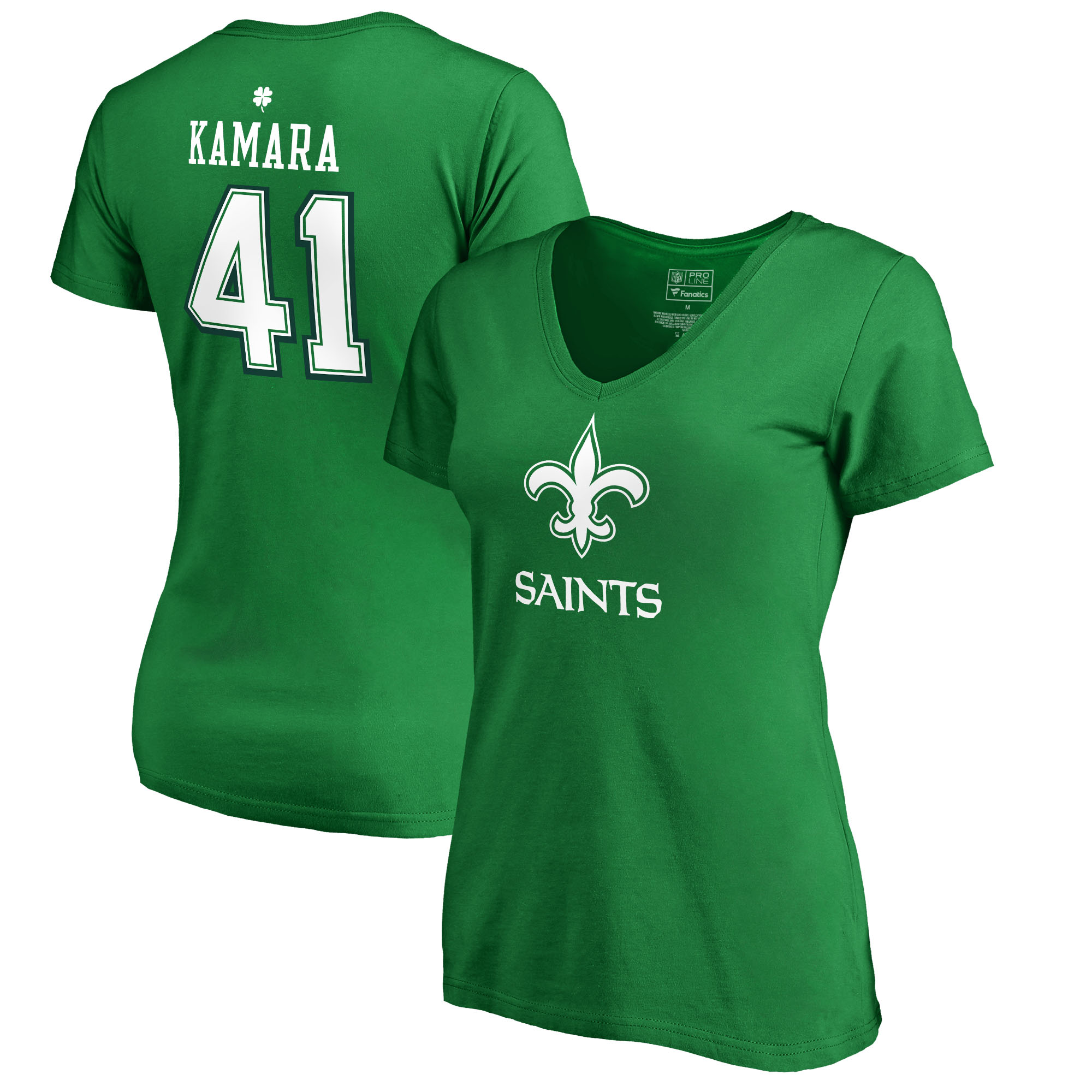 Alvin Kamara New Orleans Saints NFL Pro Line by Fanatics Branded Women's St. Patrick's Day Icon Name & Number V-Neck T-Shirt - Kelly Green