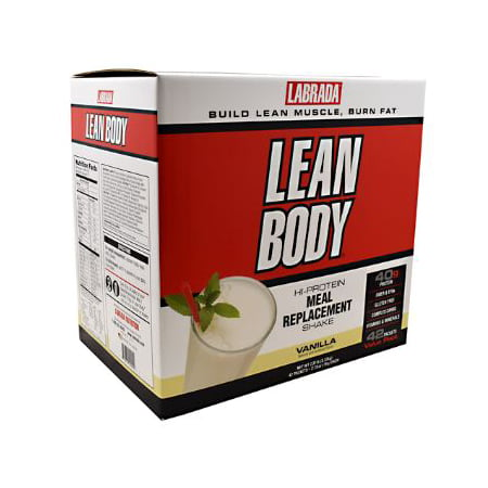 Labrada Lean Body Meal Replacement Powder, Vanilla, 40g Protein, 20 Packets Lean Body Powder