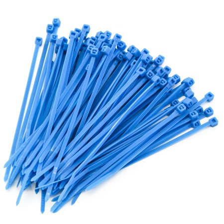 250 Heavy Duty 4 Inches 18 Pound Zip Cable Ties Nylon Wrap Blue (Blue Zip Tie)