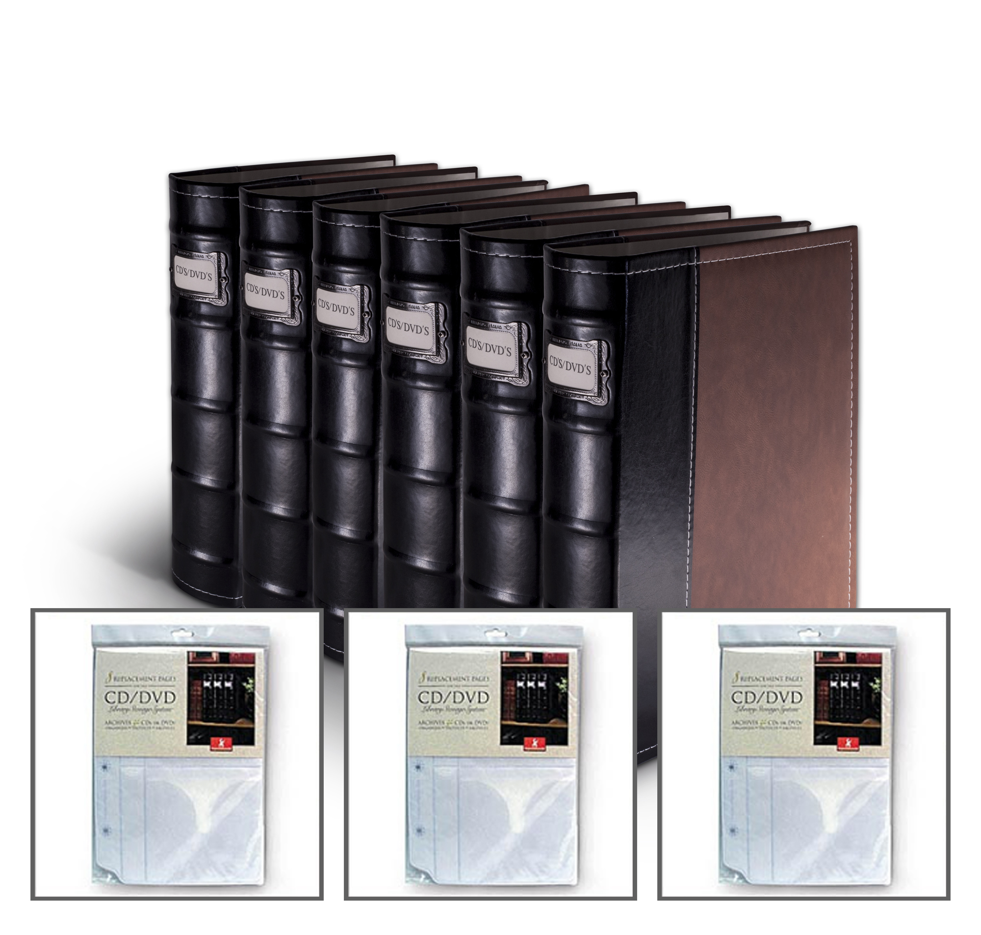 6 DVD Storage Binders w/ 3  Inserts - 360 Discs (Brown)