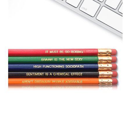 Engraved Pencils (Sherlock Holmes BBC - Inspirational Pencils Engraved With Funny And Motivational Sayings For School And The)