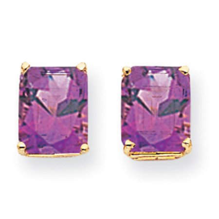 14k Yellow Gold Polished 10mm x 8mm Emerald Cut Amethyst Post Stud Earrings