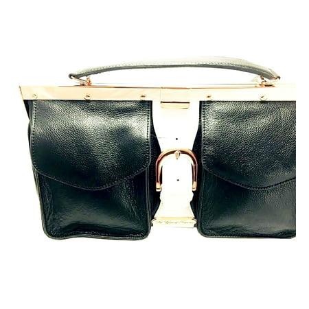 La Gioe Di Toscana Black Leather Handbag Extra Large