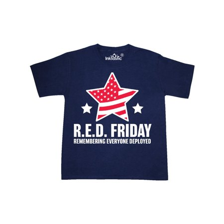 Red Friday Remembering Everyone Deployed with Red American Flag Youth T-Shirt