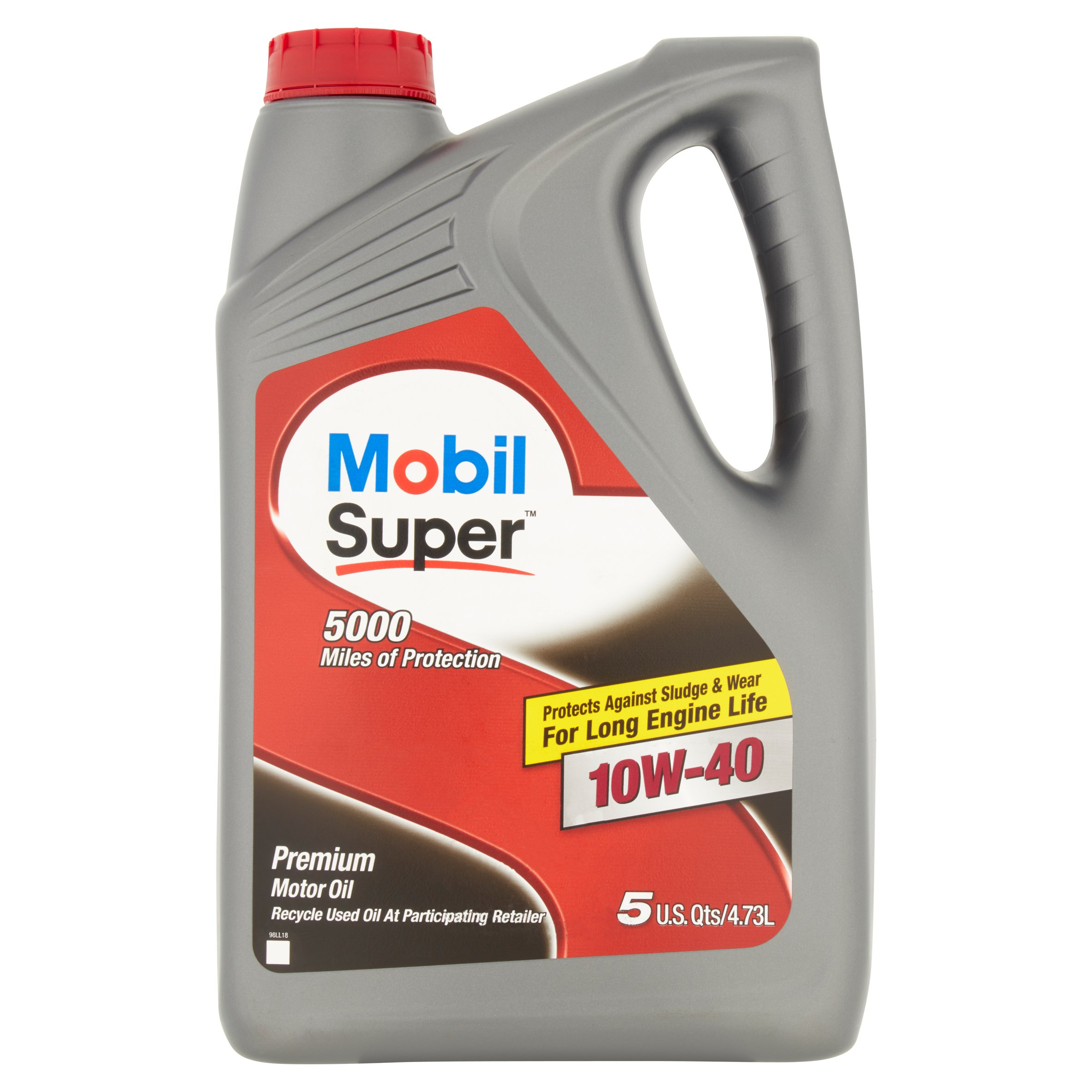 Mobil Super 10W-40 Conventional Motor Oil, 5 qt