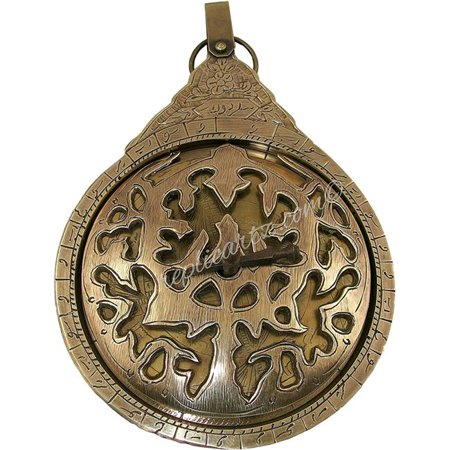 Jk Deco   Antiques Jk 1156 9 In  Hanging Brass Arabic Astrolabe Globe Maritime Navigational Astrological Calendar Replica