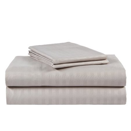 King Size Silver 500 Thread Count 100% Cotton Sateen Dobby Stripe Sheet Set