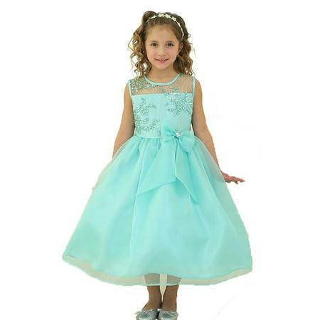 af47da0063 Sophias Style - Little Girls Mint Lace Top Ribbon Flower Girl Dress ...