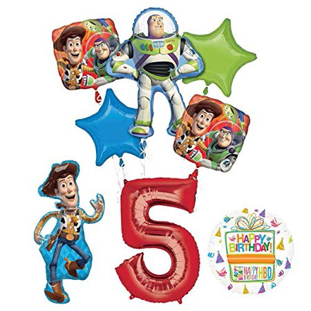 Mayflower Products Toy Story Party Supplies Woody, Buzz Lightyear and Friends 5th Birthday Balloon Bouquet Decorations - Woody Birthday Party Supplies