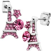 Body Candy Pink Decorated Eiffel Tower Stud Earrings