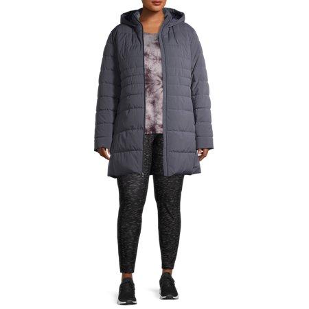 Swiss Tech Women's Plus Size Mid-Length Puffer Jacket with Hood