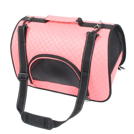 Travel Soft Faux Leather Mesh Zipper Closure Pocket Pet Carrier Bag Coral Pink Faux Leather Pet Carrier