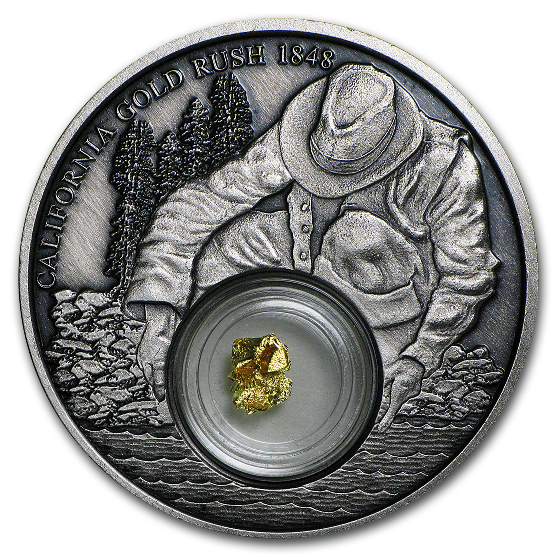 2016 Niue 1 oz Silver California Gold Rush (Antique Finish)