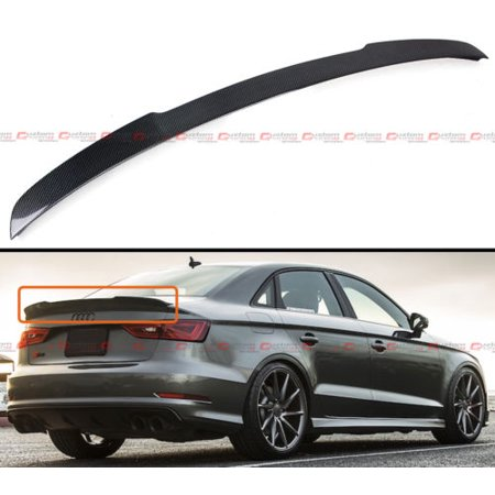 Real Carbon Fiber Rear Trunk Spoiler Lid For 14-18 Audi A3 S3 RS3 Sedan (Carbon Fiber Spokes)