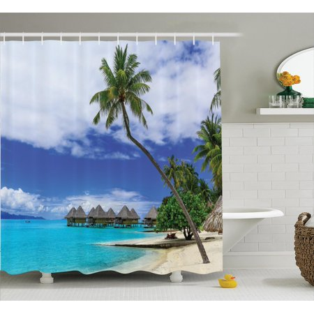 Tropical decor shower curtain set over water bungalows of for Tropical hotel decor