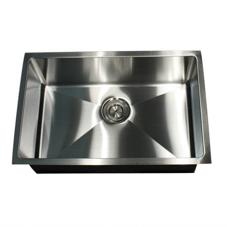 Seena Stone 16-Gauge Undermount Small Radius 28 Inch Stainless Steel  Kitchen Sink with Drain