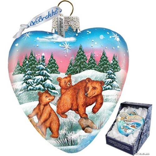 G Debrekht Kodiak Family Heart Ornament