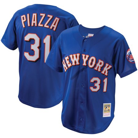 sports shoes ee3ba 34332 Mike Piazza New York Mets Mitchell & Ness Cooperstown Collection Mesh  Batting Practice Button-Up Jersey - Royal