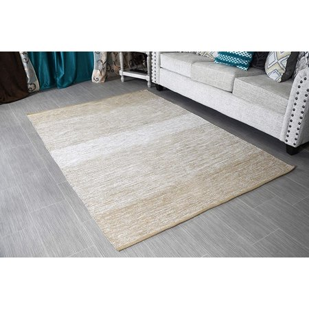 5x7' Area Rug Beige & White for Living Room - Indoor Outdoor Reversible Eco friendly 100% Recycled Cotton Chindi Rug (63