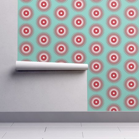 Wallpaper Roll or Sample: Holiday Christmas Ornament Starburst Modern Blue Red - Starburst Reds