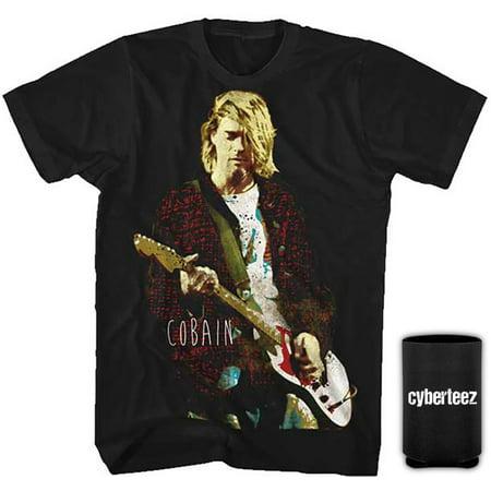 Nirvana T-Shirt Kurt Cobain Red Jacket Guitar T-Shirt + Coolie (S) (Kurt Cobain Grunge)
