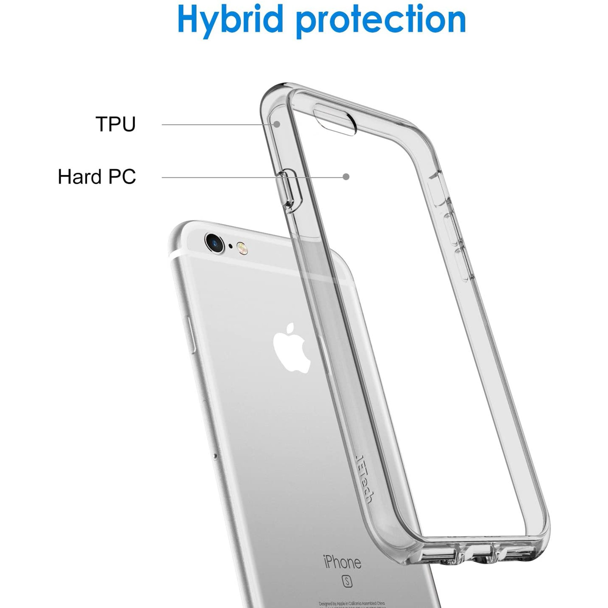 JETech Case for Apple iPhone 6 and iPhone 6s, Shock-Absorption Bumper Cover, Anti-Scratch Clear Back, Grey