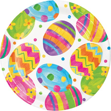 Pink And Yellow Theme (Pink and Yellow Easter Egg Toss Themed Decorative Dinner Plate)