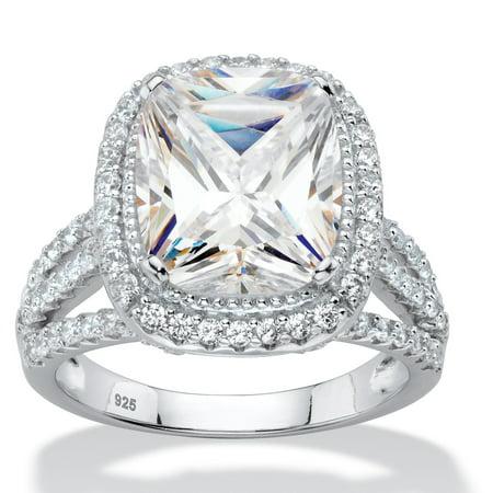 5.63 TCW Cushion-Cut White Cubic Zirconia Triple Split-Shank Halo Bridal Engagement Ring in Platinum over Sterling (Best Platinum Engagement Rings)
