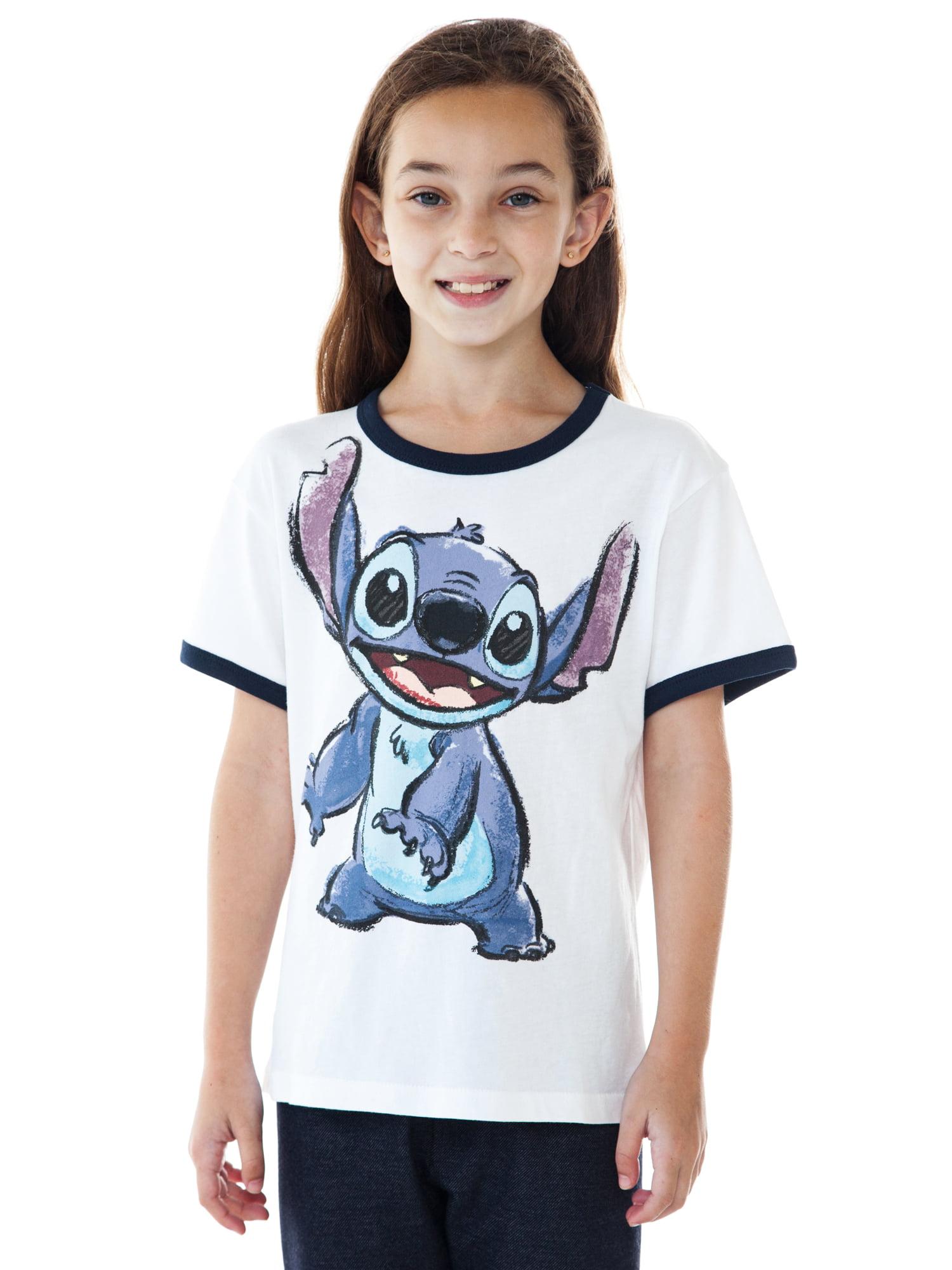 Youth Girls Stitch Ringer Short Sleeve T-Shirt White