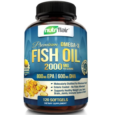 NutriFlair Premium Omega 3 Fish Oil Supplement, 120 Softgels - Enteric Coating Pills - Burpless, No Fishy Aftertaste - Triple Strength EPA 800mg + DHA 600mg - Joint, Heart and Brain Health Formula