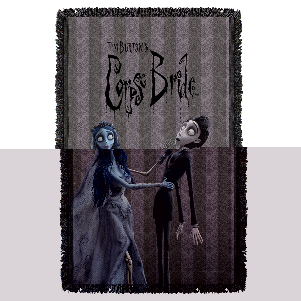 Corpse Bride Bride And Groom Woven Throw White 48X80