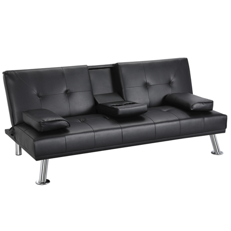 Topeakmart Modern Faux Leather Futon Sofa Bed with Armrest Home Recliner Couch Home Furniture Black ()