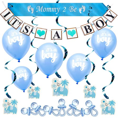 Baby Shower Boy Blue Decoration Set All-in-1 Perfect Party Bundle Kit Hottest Favors - Banner Balloons Mommy Sash Elephant Swirls Large Acrylic Pacifiers](Baby Shower Decorations Boys)
