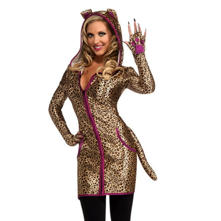 Sexy Animal Urban Jungle Leopard Print Cat Cheetah Adult Halloween Costume-Std (Cheetah Print Face For Halloween)
